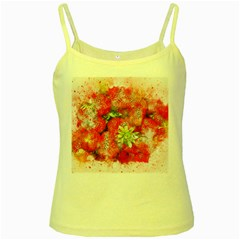 Strawberries Fruit Food Art Yellow Spaghetti Tank by Celenk