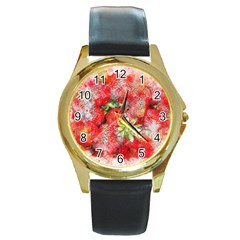 Strawberries Fruit Food Art Round Gold Metal Watch by Celenk