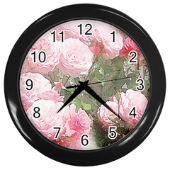 Flowers Roses Art Abstract Nature Wall Clocks (black) by Celenk