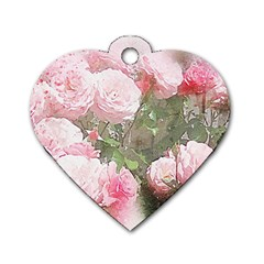 Flowers Roses Art Abstract Nature Dog Tag Heart (two Sides) by Celenk