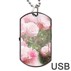 Flowers Roses Art Abstract Nature Dog Tag Usb Flash (one Side) by Celenk