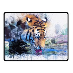 Tiger Drink Animal Art Abstract Double Sided Fleece Blanket (small)  by Celenk