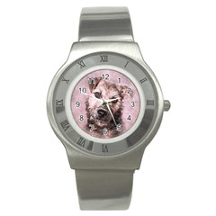 Dog Pet Terrier Art Abstract Stainless Steel Watch by Celenk