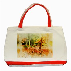 Tree Park Bench Art Abstract Classic Tote Bag (red) by Celenk