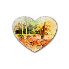 Tree Park Bench Art Abstract Heart Coaster (4 Pack)  by Celenk