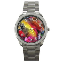 Background Art Abstract Watercolor Sport Metal Watch by Celenk
