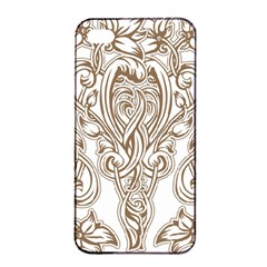 Beautiful Gold Floral Pattern Apple Iphone 4/4s Seamless Case (black) by 8fugoso