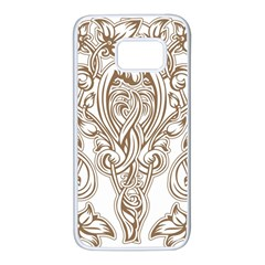 Beautiful Gold Floral Pattern Samsung Galaxy S7 White Seamless Case by 8fugoso