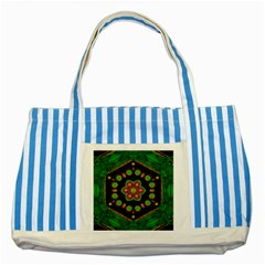 Magic Of Life A Orchid Mandala So Bright Striped Blue Tote Bag by pepitasart