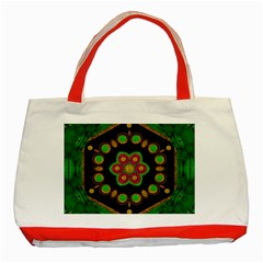 Magic Of Life A Orchid Mandala So Bright Classic Tote Bag (red) by pepitasart