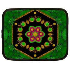 Magic Of Life A Orchid Mandala So Bright Netbook Case (large) by pepitasart