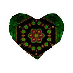 Magic Of Life A Orchid Mandala So Bright Standard 16  Premium Flano Heart Shape Cushions by pepitasart