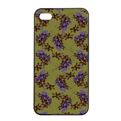 Green Purple And Orange Pear Blossoms  Apple Iphone 4/4s Seamless Case (black) by ssmccurdydesigns