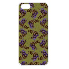 Green Purple And Orange Pear Blossoms  Apple Iphone 5 Seamless Case (white) by ssmccurdydesigns