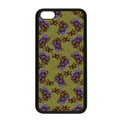 Green Purple And Orange Pear Blossoms  Apple Iphone 5c Seamless Case (black) by ssmccurdydesigns