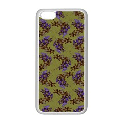 Green Purple And Orange Pear Blossoms  Apple Iphone 5c Seamless Case (white) by ssmccurdydesigns