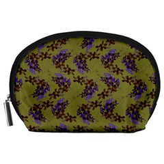 Green Purple And Orange Pear Blossoms Accessory Pouches (large)  by ssmccurdydesigns