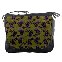 Green Purple And Orange Pear Blossoms  Messenger Bags by ssmccurdydesigns