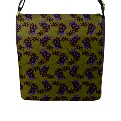 Green Purple And Orange Pear Blossoms  Flap Messenger Bag (l)  by ssmccurdydesigns