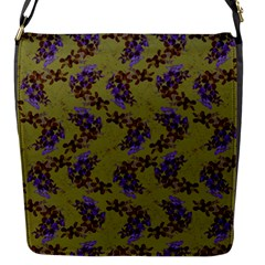 Green Purple And Orange Pear Blossoms  Flap Messenger Bag (s) by ssmccurdydesigns