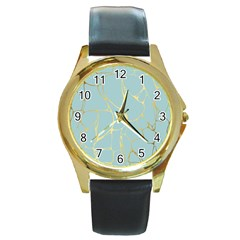 Mint,gold,marble,pattern Round Gold Metal Watch by 8fugoso