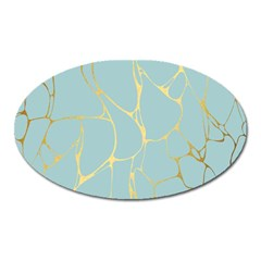 Mint,gold,marble,pattern Oval Magnet by 8fugoso