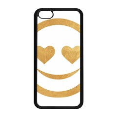 Gold Smiley Face Apple Iphone 5c Seamless Case (black) by 8fugoso