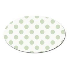 Green Dots Modern Pattern Paper Oval Magnet by Celenk