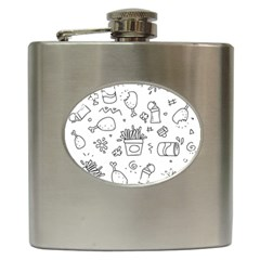 Set Chalk Out Scribble Collection Hip Flask (6 Oz) by Celenk