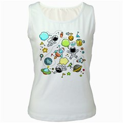 Sketch Set Cute Collection Child Women s White Tank Top by Celenk