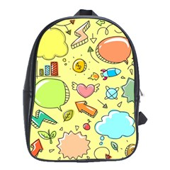 Cute Sketch Child Graphic Funny School Bag (xl) by Celenk