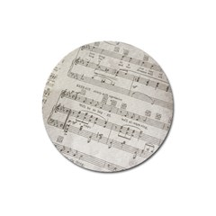 Sheet Music Paper Notes Antique Magnet 3  (round) by Celenk