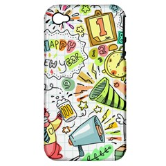 Doodle New Year Party Celebration Apple Iphone 4/4s Hardshell Case (pc+silicone) by Celenk