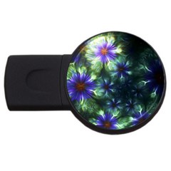 Fractal Painting Blue Floral Usb Flash Drive Round (4 Gb) by Celenk