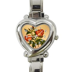 Vintage Flowers Floral Heart Italian Charm Watch by Celenk