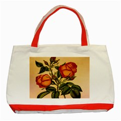 Vintage Flowers Floral Classic Tote Bag (red) by Celenk