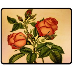 Vintage Flowers Floral Fleece Blanket (medium)  by Celenk