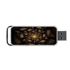 Fractal Flower Floral Bloom Brown Portable Usb Flash (two Sides) by Celenk