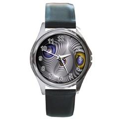 Fractal Silver Warp Pattern Round Metal Watch by Celenk