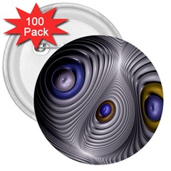 Fractal Silver Warp Pattern 3  Buttons (100 Pack)  by Celenk