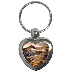 Iceland Mountains Sky Clouds Key Chains (heart)  by Celenk