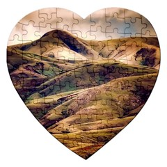Iceland Mountains Sky Clouds Jigsaw Puzzle (heart) by Celenk