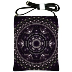 Fractal Mandala Circles Purple Shoulder Sling Bags by Celenk