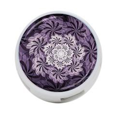 Fractal Floral Striped Lavender 4 Port Usb Hub (two Sides)  by Celenk