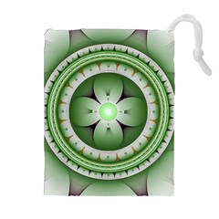 Fractal Mandala Green Purple Drawstring Pouches (extra Large) by Celenk