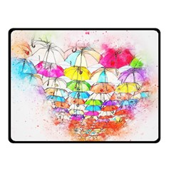 Umbrella Art Abstract Watercolor Double Sided Fleece Blanket (small)  by Celenk