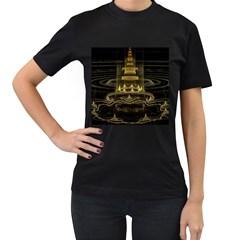 Fractal City Geometry Lights Night Women s T Shirt (black) by Celenk