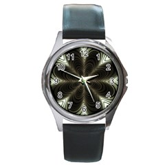 Fractal Silver Waves Texture Round Metal Watch by Celenk