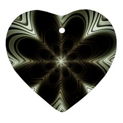 Fractal Silver Waves Texture Ornament (heart) by Celenk