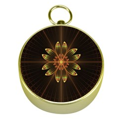 Fractal Floral Mandala Abstract Gold Compasses by Celenk
